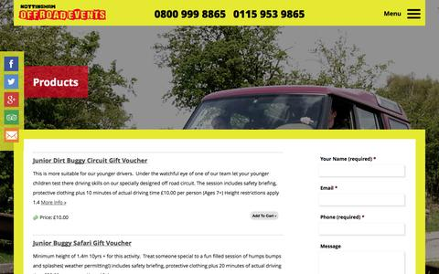 Screenshot of Products Page nottinghamoffroadevents.co.uk - Nottingham Off Road Events Ltd - captured Oct. 26, 2014