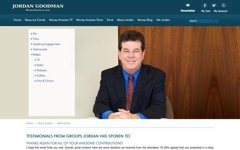 Screenshot of Testimonials Page moneyanswers.com - Jordan Goodman's Money Answers :: About Jordan :: Testimonials - captured Oct. 23, 2018