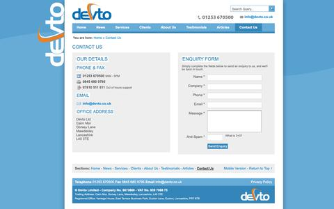 Screenshot of Contact Page devto.co.uk - Devto | Contact Us - captured Nov. 6, 2018