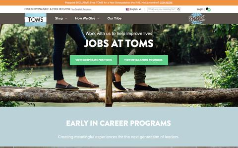 Screenshot of Jobs Page toms.com - Jobs at TOMS | TOMS - captured Jan. 5, 2016
