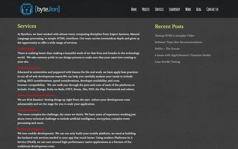 Screenshot of Services Page bytelion.com - Services | ByteLion - captured Oct. 5, 2014