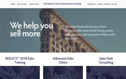 Screenshot of Home Page interactive-com.com - Interactive Communications - captured Oct. 12, 2018