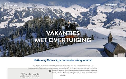 Screenshot of Home Page beter-uit.nl - Beter-uit, de christelijke reisorganisatie voor jouw groepsreis en vakantie - captured Nov. 22, 2016