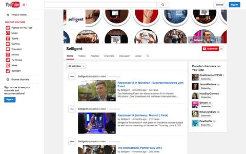 Screenshot of YouTube Page youtube.com - Selligent  - YouTube - captured Oct. 26, 2014