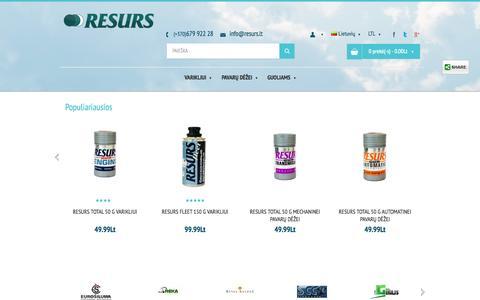 Screenshot of Home Page resurs.lt - Tepalo priedai Resurs - captured Oct. 6, 2014