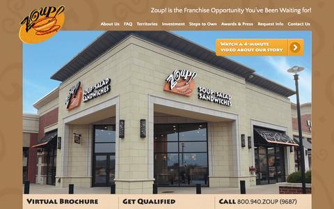 Screenshot of Home Page zoupfranchise.com - Soup Franchise | Soup Franchise Information | ZOUP! Franchise | 800.940.ZOUP(9687) - captured Aug. 13, 2015