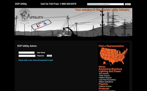 Screenshot of Login Page ecputility.com - ECP Utility Cross Reference Parts Admin - captured Oct. 1, 2014