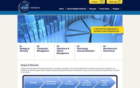 Screenshot of Services Page catalyst-ventures.com - Catalyst Ventures - - captured Sept. 29, 2014