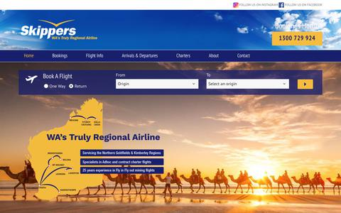 Screenshot of Home Page skippers.com.au - Skippers Aviation - WA's truly regional Airline you can count on - captured Oct. 18, 2018