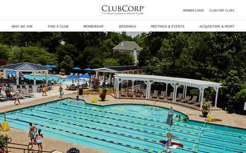 Screenshot of Home Page clubcorp.com - ClubCorp, Country Clubs, City Clubs, Private Clubs - captured July 18, 2018