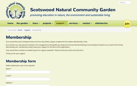 Screenshot of Signup Page sncg.org.uk - Membership - Scotswood Natural Community Garden - captured Nov. 19, 2016