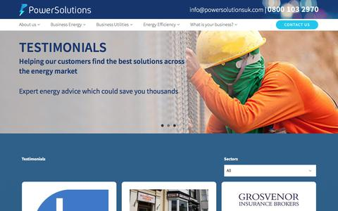 Screenshot of Testimonials Page powersolutionsuk.com - Testimonials Archives - Power Solutions - captured Aug. 9, 2017