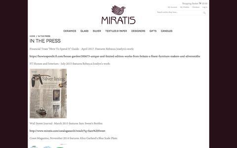 Screenshot of Press Page miratis.com - In the Press | Miratis - captured Oct. 20, 2017