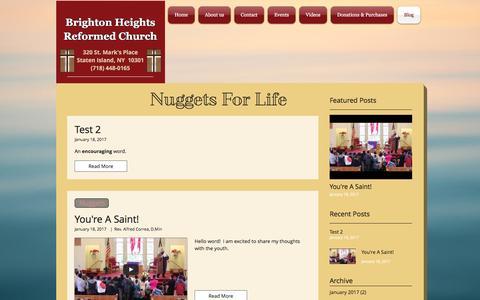Screenshot of Blog bhrcforgod.org - Brighton Heights Reformed Church   Blog - captured Feb. 27, 2017