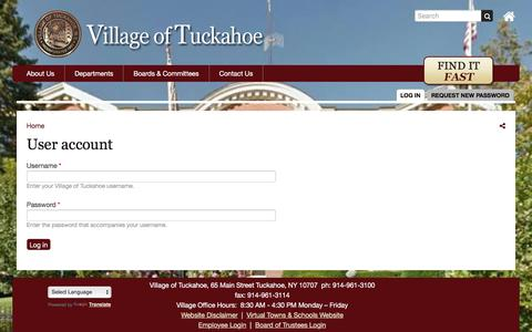 Screenshot of Login Page tuckahoe.com - User account | Village of Tuckahoe - captured April 24, 2017
