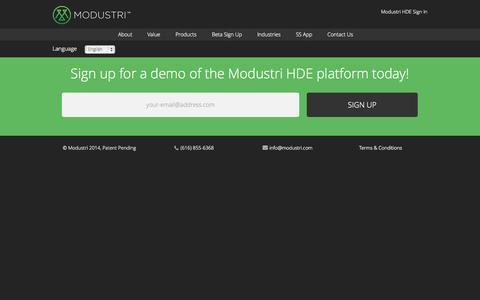 Screenshot of Signup Page modustri.com - Free Modustri HDE Demo Signup   Modustri   Modustri - captured Oct. 28, 2014