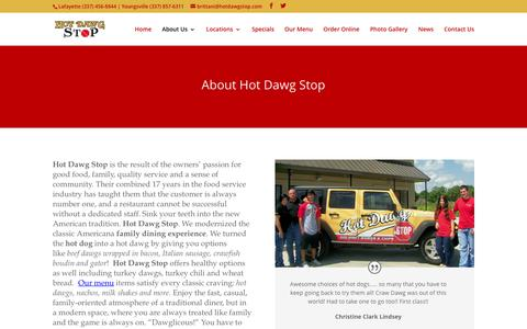 Screenshot of About Page hotdawgstop.com - Hot Dawg Stop - Best Hot Dogs in Lafayette LA - captured Feb. 1, 2016