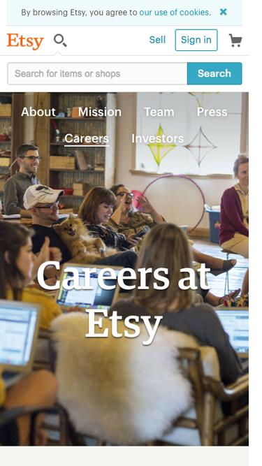 Screenshot of Jobs Page  etsy.com - Careers at Etsy