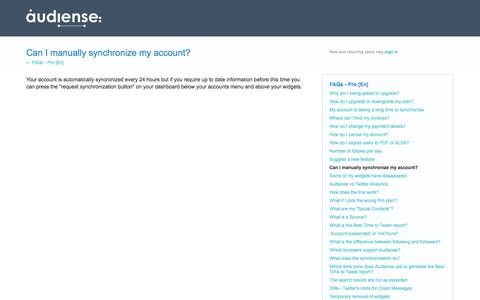 Can I manually synchronize my account? – Help us build a better Audiense