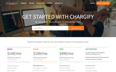 Screenshot of Pricing Page chargify.com - Billing Plans for Startups and Small Businesses - Chargify - captured Nov. 1, 2016