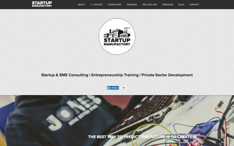 Screenshot of Home Page startupmanufactory.com - Startup Consulting, Entrepreneurship Training, Private Sector Development - captured Sept. 21, 2018