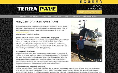 Screenshot of FAQ Page terrapave.com - FAQs   Terra Pave - captured Nov. 16, 2017