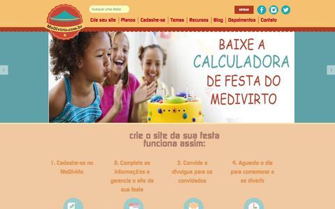 Screenshot of Home Page medivirto.com.br - MeDivirto | Sites temáticos para a festa do seu filho - captured Jan. 9, 2016