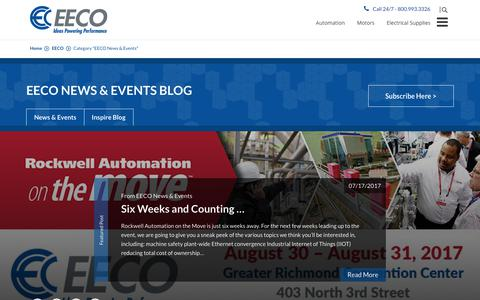 Screenshot of Press Page eecoonline.com - EECO News & Events Archives | EECO - Electrical Equipment Company - captured July 23, 2017