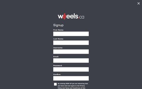 Screenshot of Signup Page wheels.ca - Signup - WHEELS.ca - captured Jan. 15, 2016