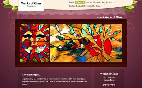 Screenshot of About Page worksofglass.net - About Works of Glass - captured Jan. 11, 2016