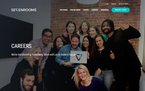 Screenshot of Jobs Page sevenrooms.com - Careers | SEVENROOMS - captured May 31, 2018
