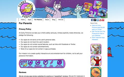 Screenshot of Privacy Page corkyportwine.com - For Parents - Corky Portwine - captured Sept. 30, 2014