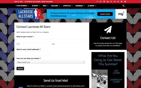 Screenshot of Contact Page laxallstars.com - Contact the team at Lacrosse All Stars - LaxAllStars.com - captured Jan. 24, 2017