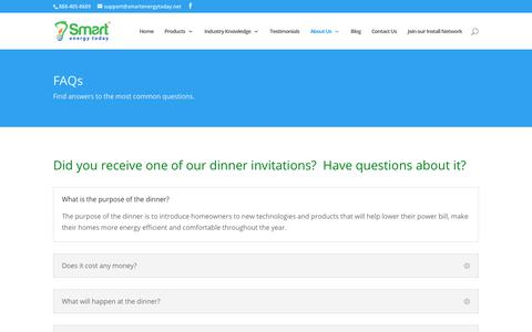 Screenshot of FAQ Page smartenergytoday.net - FAQ - Smart Energy Today | Energy Conservation Experts - captured June 20, 2019