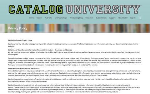 Screenshot of Privacy Page cataloguniversity.com - Privacy Policy | Catalog University - captured July 11, 2016