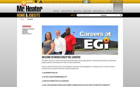 Screenshot of Jobs Page mrheater.com - Careers - captured Sept. 19, 2014