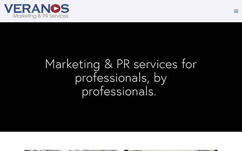 Screenshot of Home Page veranosresources.com - Veranos Marketing and PR services - captured April 22, 2018