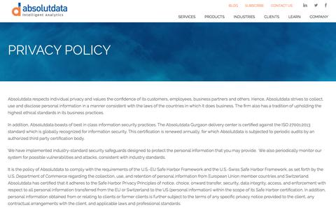 Screenshot of Privacy Page absolutdata.com - Privacy Policy | Absolutdata - captured July 3, 2016