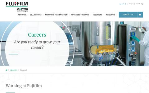 Screenshot of Jobs Page fujifilmdiosynth.com - cGMP CDMO Career Opportunities | FUJIFILM Diosynth Biotechnologies - captured Feb. 22, 2020