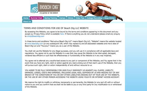 Screenshot of Terms Page beachdig.com - TERMS AND CONDITIONS FOR USE OF Beach Dig LLC WEBSITE   Beach Dig - captured Feb. 7, 2016