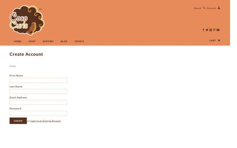 Screenshot of Signup Page cococurls.com - Create Account | Coco Curls - captured Oct. 2, 2014