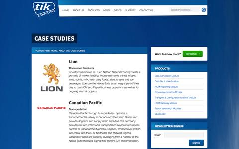 Screenshot of Case Studies Page tikconsulting.com.au - Case Studies - TIK Consulting - SAP Human Resources and Payroll modules - captured Sept. 30, 2014