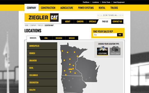 Screenshot of Locations Page zieglercat.com - Caterpillar locations in MN & IA | Ziegler CAT - captured Oct. 7, 2014