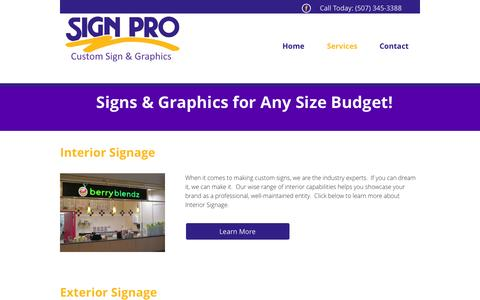 Screenshot of Services Page signpromankato.com - Vehicle Graphics | Southern Minnesota | Sign Pro - captured Oct. 9, 2014