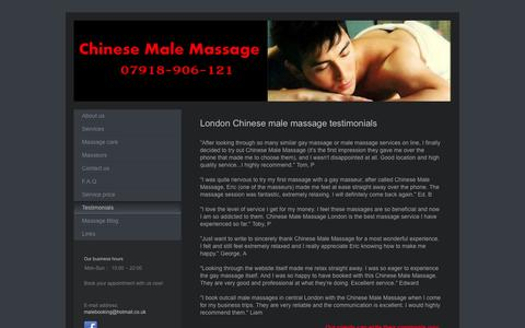Screenshot of Testimonials Page chinesemalemassage.co.uk - Chinese Male Massage London - Gay masseur reviews - captured Oct. 2, 2014
