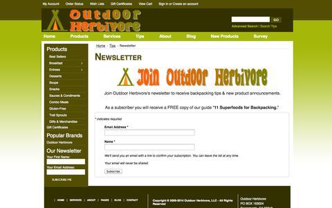 Screenshot of Signup Page outdoorherbivore.com - Newsletter - captured Oct. 26, 2014