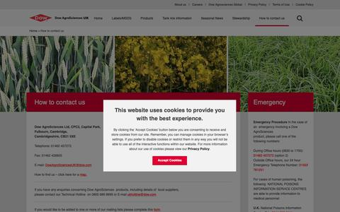 Screenshot of Contact Page dowagro.com - Regional contacts at Dow AgroSciences UK - captured Oct. 20, 2018