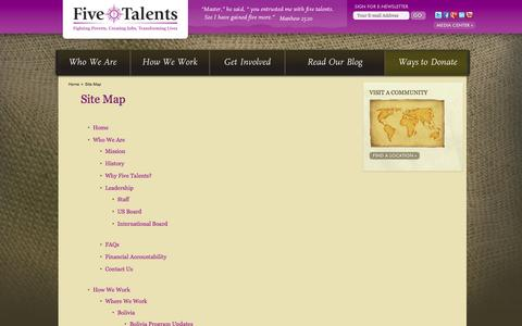 Screenshot of Site Map Page fivetalents.org - Site Map - Five Talents - captured Sept. 19, 2014