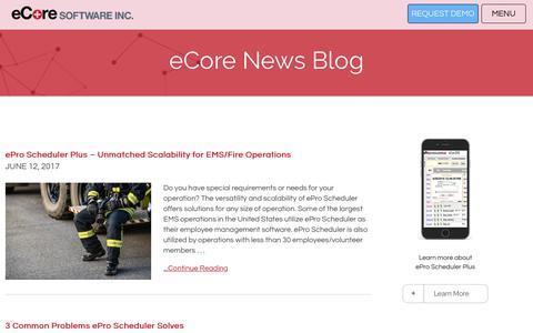 Screenshot of Blog ecoresoftware.com - Workforce Mangement Blog, Your Source for Resouce Mangement News - eCore - captured July 16, 2017