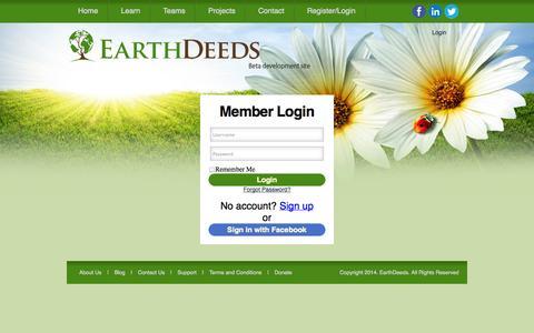 Screenshot of Login Page earthdeeds.org - Login : Earth Deeds - captured Sept. 27, 2014